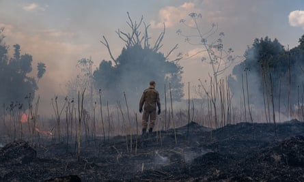 A firefighter looks at the destruction caused by a fire in the municipality of Sorriso, Mato Grosso state
