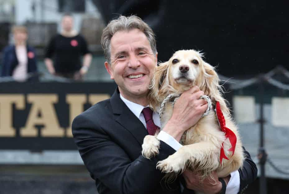 Labour's Dan Norris, who was elected West of England mayor, with his dog Angel