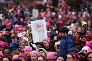 Protesters in Washington wearing pink hats