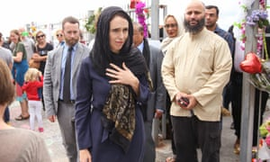 The New Zealand prime minister, Jacinda Ardern, after visiting a mosque in Christchurch