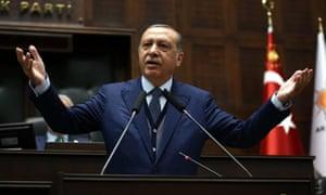 Recep Tayyip Erdoğan at the national assembly in Ankara on 13 June 2017.
