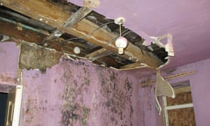 Flat with holes in ceiling and mouldy walls