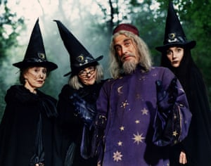 Left to right: Una Stubbs as Miss Bat in The Worst Witch with Clare Coulter, Terrence Hardiman and   Kate Duchêne.  • This caption was amended on 19 August 2021. The photo shows Kate Duchêne (as Constance Hardbroom) on the right, not Caroline O'Neill as an earlier version said.