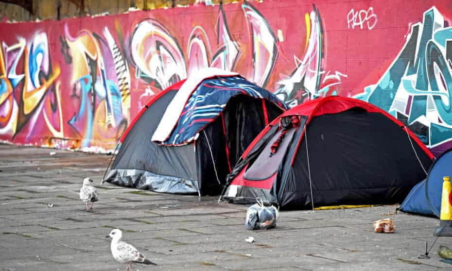 Homeless tents on Brighton seafront UK.