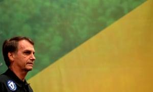 Jair Bolsonaro during a press conference in Rio de Janeiro.