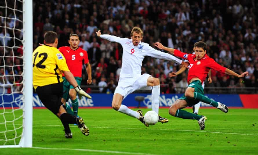 Crouch scores against Belarus in 2009