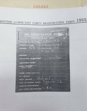 Lessing's British communist party registration form.