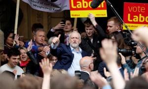 Jeremy Corbyn campaigns outside Leamington Spa town hall.