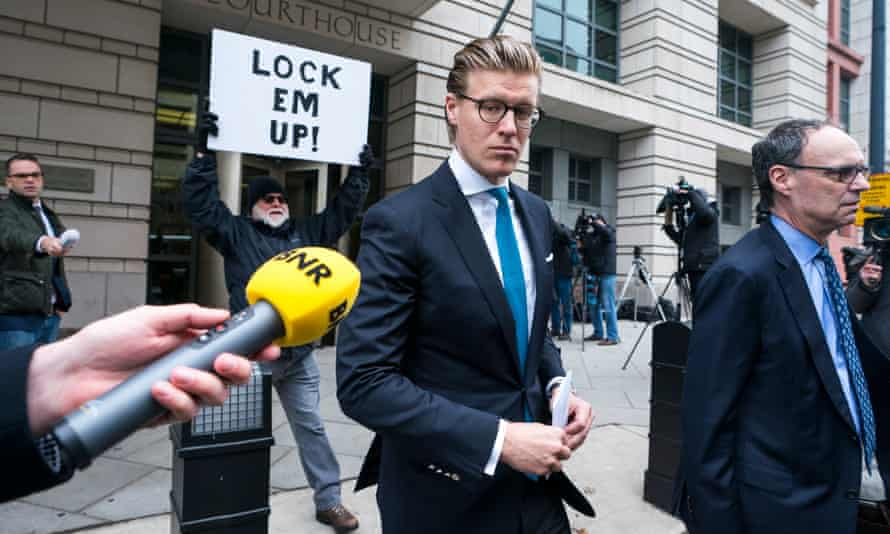 Alex van der Zwaan walks out of the DC federal courthouse after being sentenced to 30 days in prison for making false statements to federal investigators, 3 April 2018.