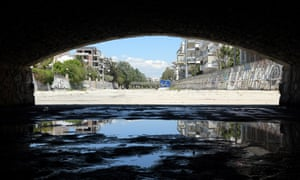 The end of the Ilisos River in Athens, Greece.