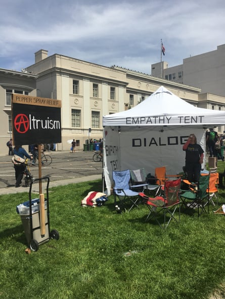 "A volunteer staffs an ""empathy tent"" in Berkeley."