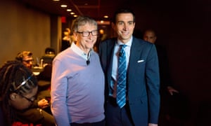 New York Times editor Andrew Ross Sorkin, poses with Bill Gate backstage at 2019 Dealbook conference.