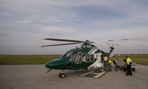 An Island Helicopters aircraft prepares to take off from Land's End airport