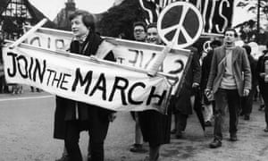 CND demonstrators on a march from London to Aldermaston in 1958.