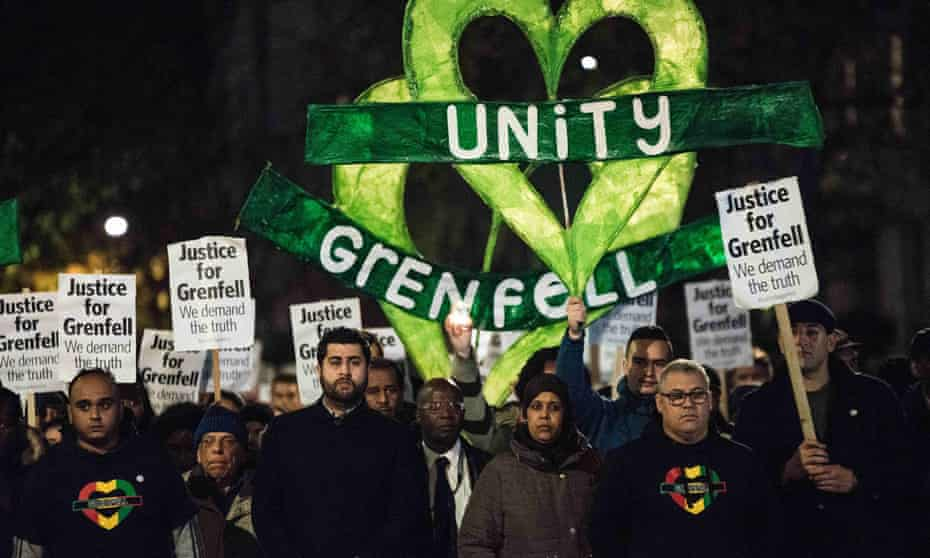 Protesters mark five months since the Grenfell Tower fire with a silent march.