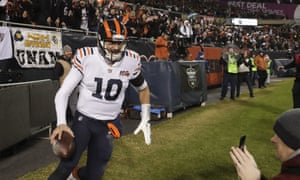 Mitchell Trubisky celebrates after rushing for a touchdown