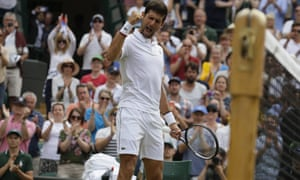 Novak Djokovic celebrates his victory against Hubert Hurakacz which secured his place in the fourth round at Wimbledon.