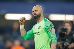 Caballero celebrates Chelsea's 2-0 win.