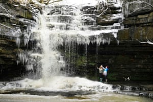 A frozen Summerhill Force waterfall at Bowlees in Teesdale