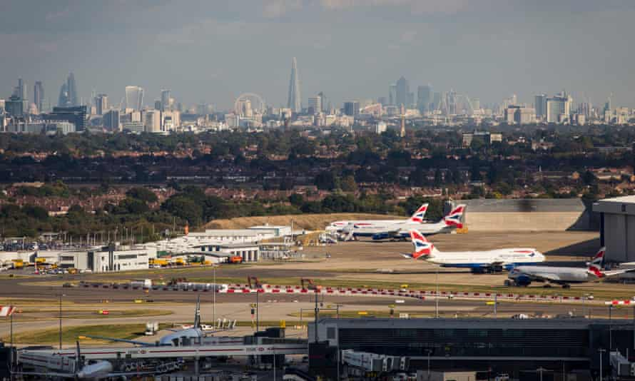 A general view of aircraft at Heathrow airport