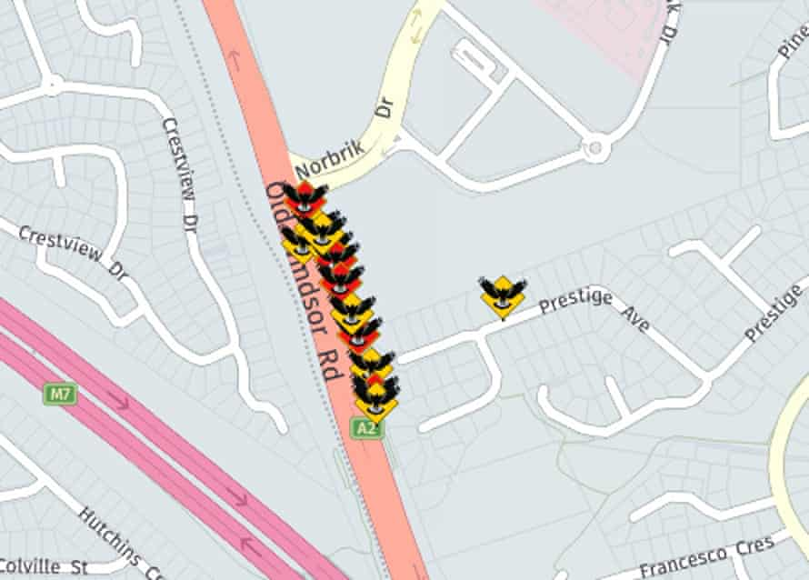 Screenshot of Magpie Alert map