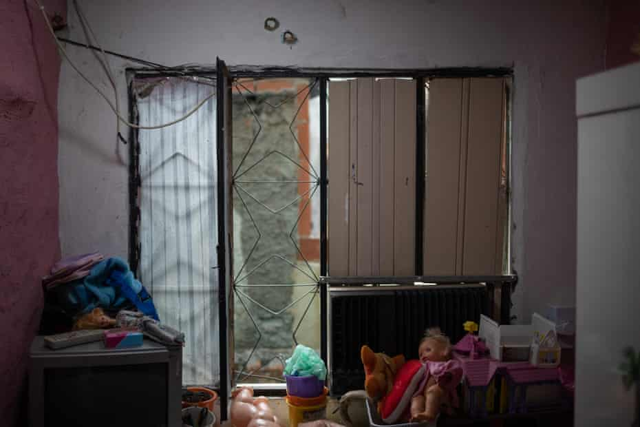 A child's bedroom where police killed one of the victims of last week's raid.