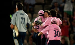 Middlesex's delighted players enjoy the run out of Justin Kemp from the final ball, which had required four runs.