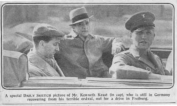 The Daily Sketch picture of Kenneth Keast (wearing a cloth cap) in a car with a Gestapo officer and the leader of the local Hitler Youth