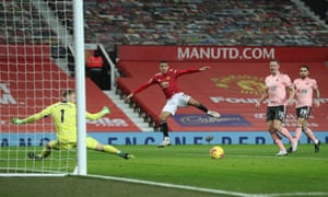 Mason Greenwood fails to hit the target.