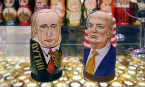 Russian dolls styled in the likeness of Vladimir Putin and Donald Trump in a Moscow souvenir shop.