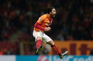 Galatasaray's Selcuk Inan celebrates his goal in the 1-1 draw against Astana.