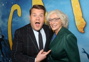 Swift's co-star James Corden poses with the former Cats musical performer Betty Buckley.