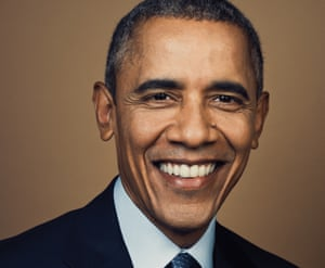 Barack Obama smiling looking at the camera
