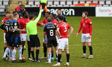FA investigates alleged homophobic abuse after Morecambe player sent off