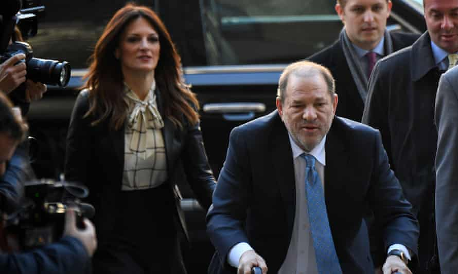 Harvey Weinstein arrives at the court in New York City on 24 February 2020 with his lawyer Donna Rotunno.
