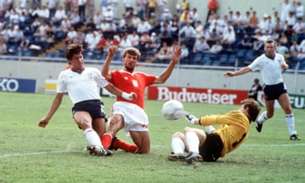 Gary Lineker scoring for England against Poland in the 1986 World Cup in Monterey, Mexico, with Peter Reid in the background. Both players have spoken about Brexit.