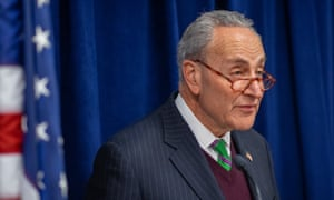 Chuck Schumer speaks during a press conference on impeachment in New York City on 23 December 2019.