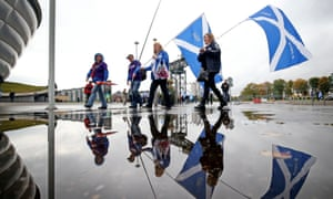 Independence campaigners outside the conference centre.
