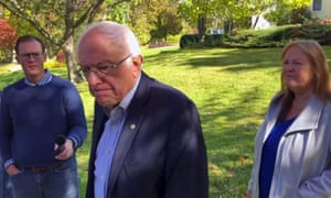 Sanders spoke to reporters outside his home in Burlington, Vt.