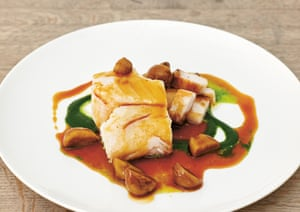 Baked cod with chestnuts, parsley and bacon.