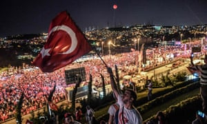 People gather at 15 July Martyrs Bridge in Istanbul, Turkey, to attend the second anniversary of the failed coup. Formerly known as the Bosphorus Bridge, it was renamed in memory of those killed while resisting the attempted uprising