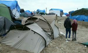 Refugee children at the Calais camp in December 2015.