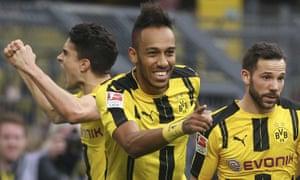 Pierre-Emerick Aubameyang, centre, celebrates a goal during Borussia Dortmund's win over Bayer Leverkusen.