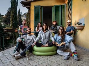 Camilla, Matilde, Alberto, Paolo, Giulia, Martino, Francisco,roommates (mixed group), Firenze 2020.
