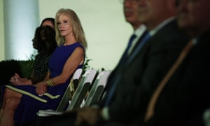 Kellyanne Conway waits to listen to Melania Trump's address to the Republican national convention.