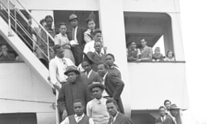 Passengers on the Empire Windrush after it arrived at Tilbury Docks on 22 June, 1948.
