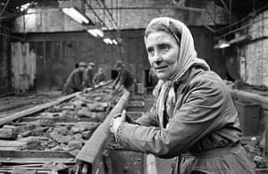 Last of the screen girls at Harrington No 10 coal mine, Lowca, Belle Adams 1972