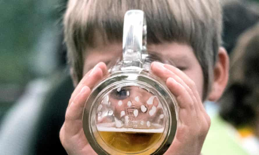 Child drinking beer