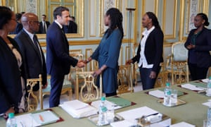 Emmanuel Macron meets French representatives of an organisation for survivors of the Rwandan genocide