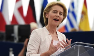 Ursula von der Leyen delivers a speech to the European parliament.